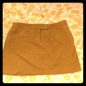 J. Crew Yellow Gold Corduroy Mini Skirt